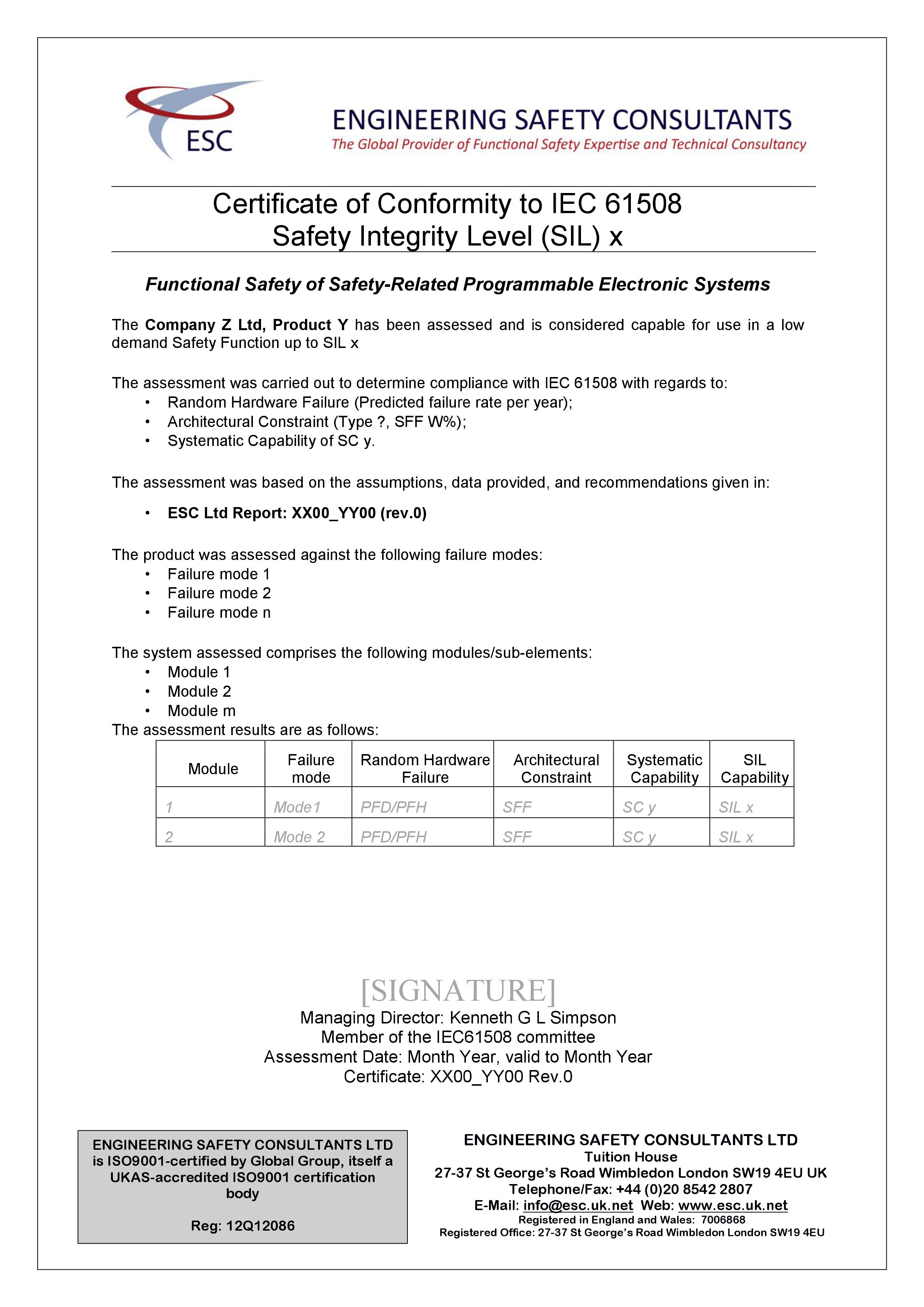 Product Certification Sil Capability Iec 61508